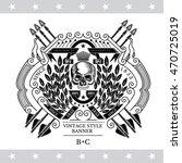 skull front view in center oval ... | Shutterstock .eps vector #470725019