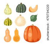 autumn collection of pumpkin... | Shutterstock .eps vector #470734220
