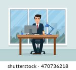 businessman in workplace in... | Shutterstock .eps vector #470736218