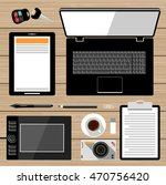 workplace flat lay. business... | Shutterstock .eps vector #470756420
