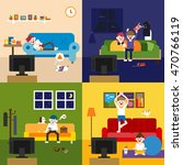 living room with television... | Shutterstock .eps vector #470766119