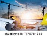 desk of civil engineer. ... | Shutterstock . vector #470784968