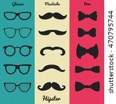 hipster design set. vector set... | Shutterstock .eps vector #470795744
