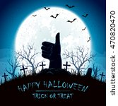 blue halloween background with... | Shutterstock . vector #470820470
