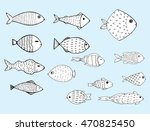 stylized fishes. aquarium fish. ... | Shutterstock .eps vector #470825450