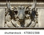Small photo of Decorative alto-relievo with moose head on George Gate side wall in Stables Courtyard (Stallhof) in Dresden, Saxony, Germany.