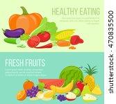 set of fresh fruit and... | Shutterstock . vector #470835500