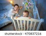 young tired mother got asleep... | Shutterstock . vector #470837216