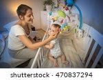 portrait of happy young mother... | Shutterstock . vector #470837294