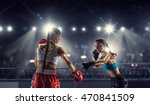 Girls Boxing In Ring . Mixed...