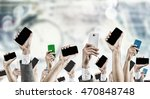crowd of people with phone in... | Shutterstock . vector #470848748