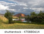 Steppe River With Groves Of...
