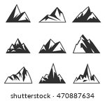 Vector Mountains Icons Isolate...