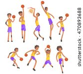 basketball players of same team ... | Shutterstock .eps vector #470893688