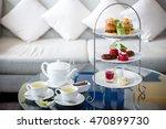high tea set with dessert... | Shutterstock . vector #470899730