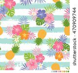 tropical flower pattern with... | Shutterstock .eps vector #470909744