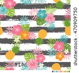 tropical flower pattern with... | Shutterstock .eps vector #470909750