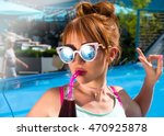 beach woman drinking cold drink ... | Shutterstock . vector #470925878