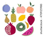 cartoon fruit collection.... | Shutterstock .eps vector #470925980