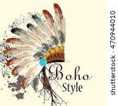 bo ho illustration with... | Shutterstock .eps vector #470944010