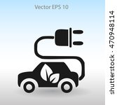 flat eco car icon. vector | Shutterstock .eps vector #470948114