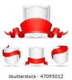 vector red banners and shield | Shutterstock .eps vector #47095012