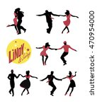 young people dancing swing or... | Shutterstock .eps vector #470954000