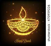 beautiful golden oil lit lamp ... | Shutterstock .eps vector #470959226