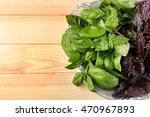 bunch of fresh basil on wooden... | Shutterstock . vector #470967893