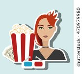 woman movie video theater... | Shutterstock .eps vector #470979980