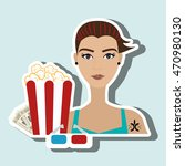 woman movie video theater... | Shutterstock .eps vector #470980130