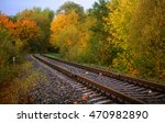 Railway Or Tramway Track In A...