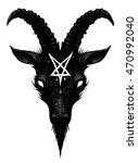 satan goat head | Shutterstock . vector #470992040
