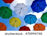 colorful umbrellas with blue... | Shutterstock . vector #470994740