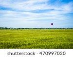 hot air balloon over green field | Shutterstock . vector #470997020