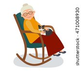 old woman with cat in her... | Shutterstock .eps vector #471008930