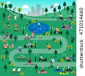 rest in the park infographic... | Shutterstock . vector #471014660
