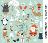 Christmas cards with cute Santa Claus, trees, flowers, mittens, snowflakes and christmas toys, penguin in winter cap, elf, christmas crackers and forest animals  in cartoon style