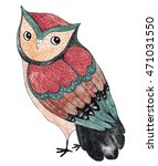 Stock photo watercolor funny kids illustration with owl hand drawn animal drawing owl bird painting perfect 471031550