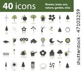 40 icons  flowers  trees  eco ...