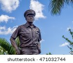 Small photo of OAHU, HI - AUG 5, 2016: Stature of Admiral Nimitz at the USS Missouri on August 5, 2016 in Pearl Harbor, USA. He played a major role in World War II as Commander in Chief, United States Pacific Fleet