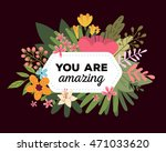 vector illustration of floral... | Shutterstock .eps vector #471033620
