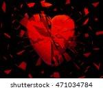 A Red Heart Broken Into Pieces...