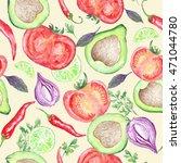 vegetarian vegetable pattern  ... | Shutterstock . vector #471044780