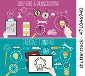 flat hand drawn brainstorming... | Shutterstock .eps vector #471046940