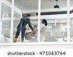 mixed race businessman busy...   Shutterstock . vector #471063764