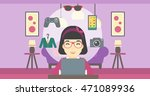 an asian woman sitting in front ... | Shutterstock .eps vector #471089936