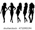 set of five female black vector ...