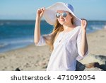woman in hat and white tunic... | Shutterstock . vector #471092054