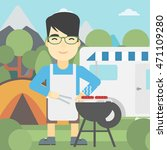 an asian man cooking meat on... | Shutterstock .eps vector #471109280